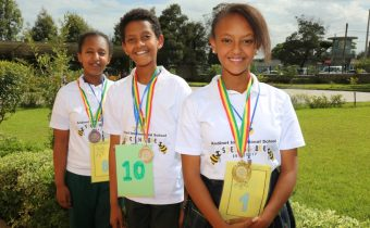 Grade six winners Abigial, Nathan and Bemnet